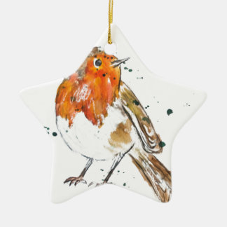 Watercolour Robin Design Christmas Ornament