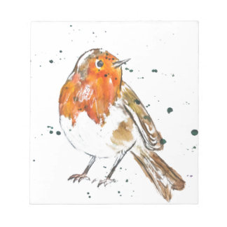 Watercolour Robin Design Notepad