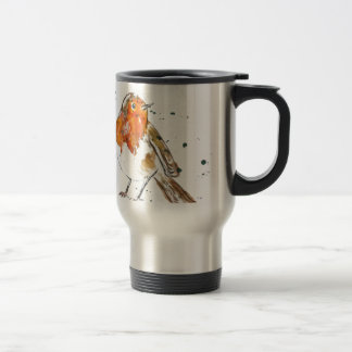 Watercolour Robin Design Travel Mug