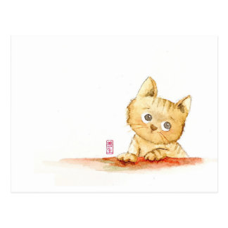 Watercolour: sad kitty postcard