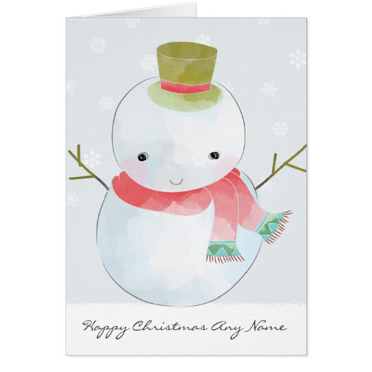 Watercolour Snowman Personalised Christmas Card