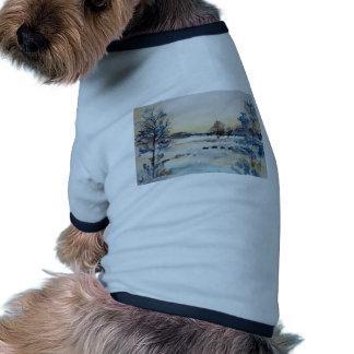 Watercolour Snowy Field Ringer Dog Shirt