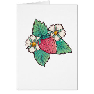Watercolour strawberry Plant Blank Card