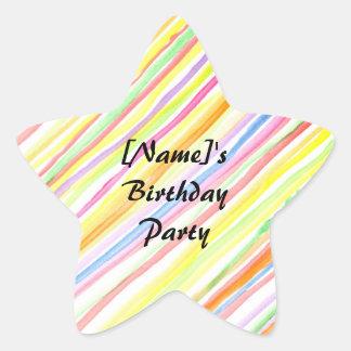 Watercolour Stripes - Birthday Party Stickers Star Sticker