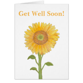 Watercolour Sunflower Get Well Soon Greeting Cards