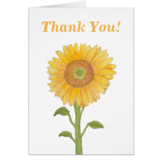 Watercolour Sunflower Thank You Greeting Cards