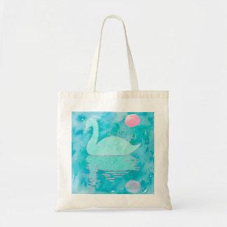 Watercolour swan painting tote bag
