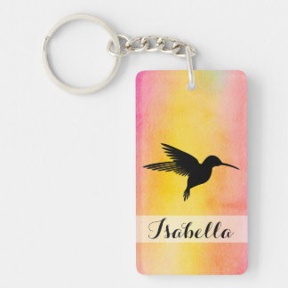 Watercolour Textured Hummingbird Colibri Keychain