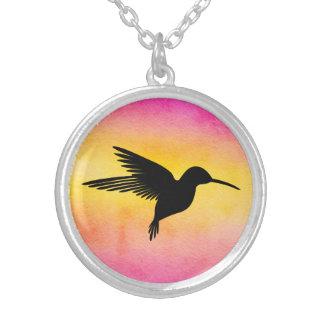 Watercolour Textured Hummingbird Colibri Necklace
