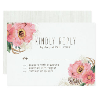 Watercolour Tribal Bohemian Feathers RSVP Cards