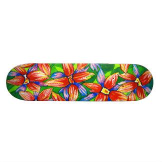 Watercolour Tropical Flowers Skateboard