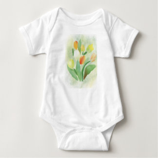 Watercolour tulip flowers, original artwork baby bodysuit
