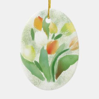 Watercolour tulip flowers, original artwork christmas ornament