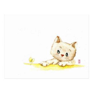 Watercolour: want a distance kitty postcard