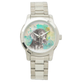 WATERCOLOUR WEIMARANER SILVER BRACELET WATCH