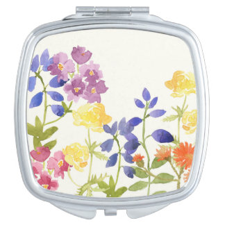 Watercolour Wild Flowers Colourful Compact Mirror