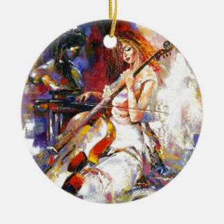 Watercolour Woman Playing Chello Christmas Ornament