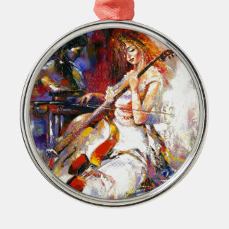 Watercolour Woman Playing Chello Silver-Colored Round Decoration