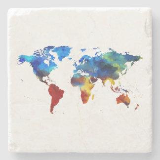 Watercolour World Map Marble Stone Coaster