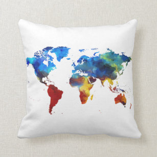 World map cushions decorative throw cushions zazzle uk watercolour world map throw cushion gumiabroncs Images