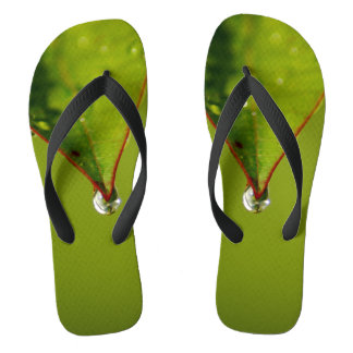 Waterdrop On Leaf Photograph On Flip flops