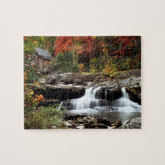 Waterfall and Mill Wheel in Autumn Jigsaw Puzzle