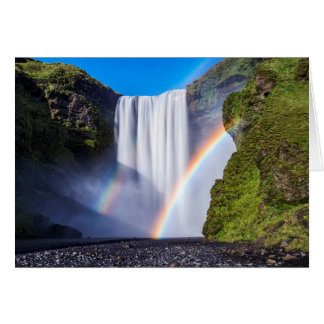 Waterfall and rainbow card