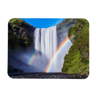 Waterfall and rainbow rectangular photo magnet