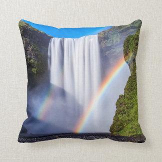 Waterfall and rainbow throw pillow