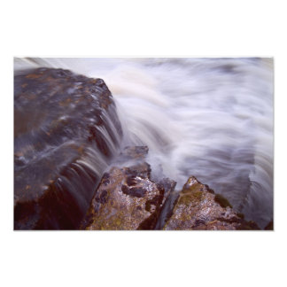 Waterfall and rock study photo print