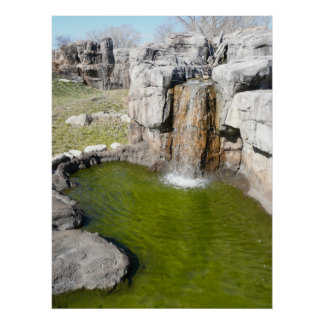 Waterfall and watering pond for zoo Gorillas Posters