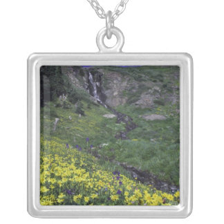 Waterfall and wildflowers in alpine meadow, square pendant necklace