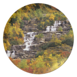 Waterfall below Mt Cannon in Glacier National Party Plates