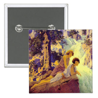 Waterfall - by Maxfield Parrish 15 Cm Square Badge