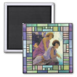 """Waterfall"", by Maxfield Parrish Fridge Magnets"