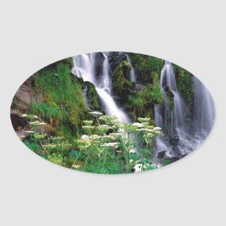 Waterfall Cascading Umpqua Oval Sticker