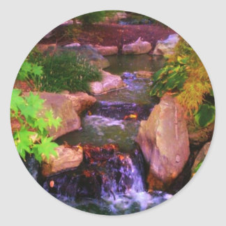 Waterfall Classic Round Sticker