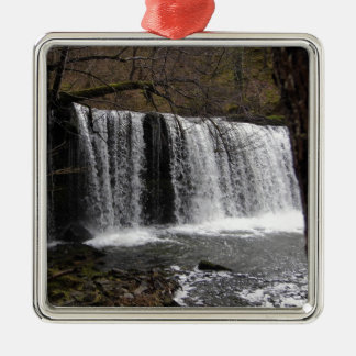 WaterFall country in wales, Brecon beacons Silver-Colored Square Decoration