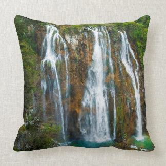 Waterfall elevated view, Croatia Throw Pillow