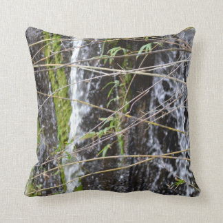 waterfall green moss twigs plant background cushion