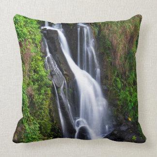 Waterfall, Hamakua coast, Hawaii Throw Pillow