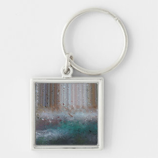 Waterfall II Silver-Colored Square Key Ring