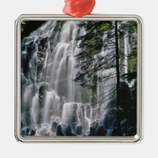 Waterfall in forest, Oregon Silver-Colored Square Decoration