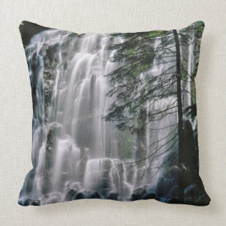 Waterfall in forest, Oregon Throw Pillow