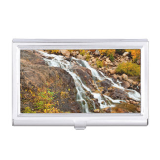 Waterfall In Grand Teton National Park Business Card Holder