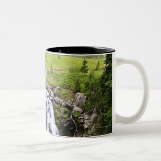 Waterfall in Mount Rainier National Park Two-Tone Coffee Mug