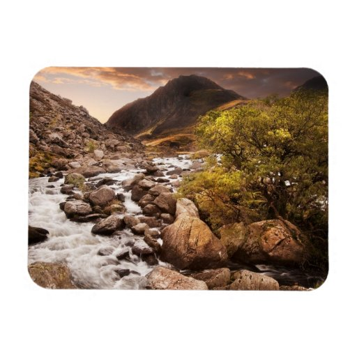 Waterfall In Mountains With Moody Dramatic Rectangular Magnet