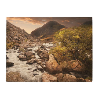 Waterfall In Mountains With Moody Dramatic Wood Wall Art