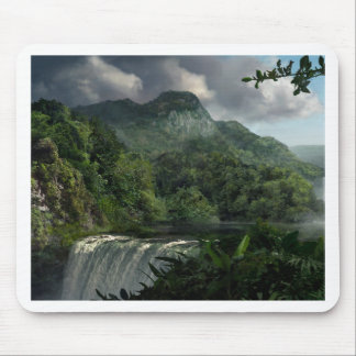 Waterfall in the Mountains Jungle Mouse Pad