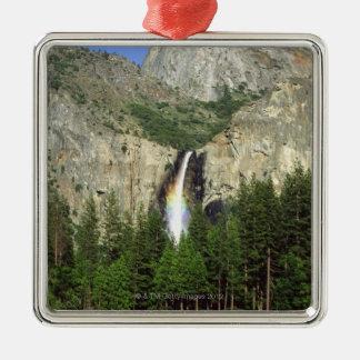 Waterfall in Yosemite National Park, California, Silver-Colored Square Decoration